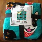 Teal Blue Boston Terrier Dachshund  Velvet Fleece Throw Blan