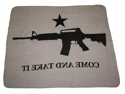 Texas M4 Machine Gun Come and Take it Flag 50x60 Polar Fleec