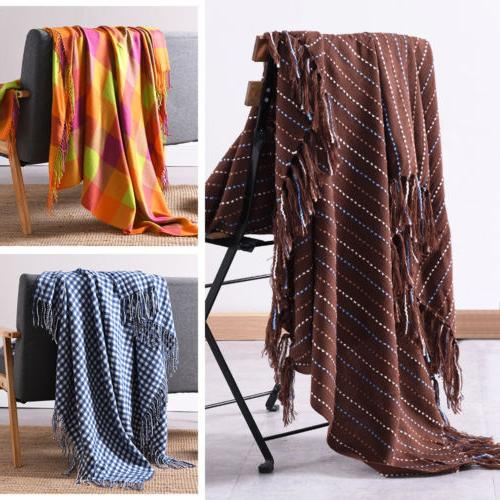 Throw Blanket Bedspread Reversible w/ Decorative Fringe for