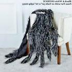 Throw Blanket Black & White OSTRICH Faux Fur w/10 Tails 50""