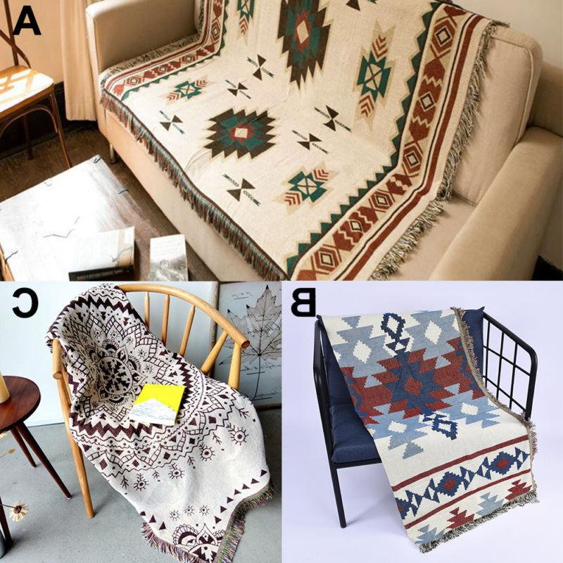 Tribal ethnic geometric Aztec Navajo blanket throw rugs sofa