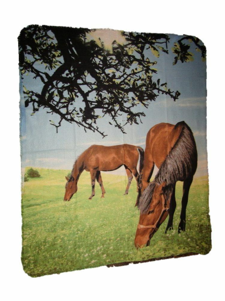 Two Horses Eating Grass 50x60 Polar Fleece Blanket Throw