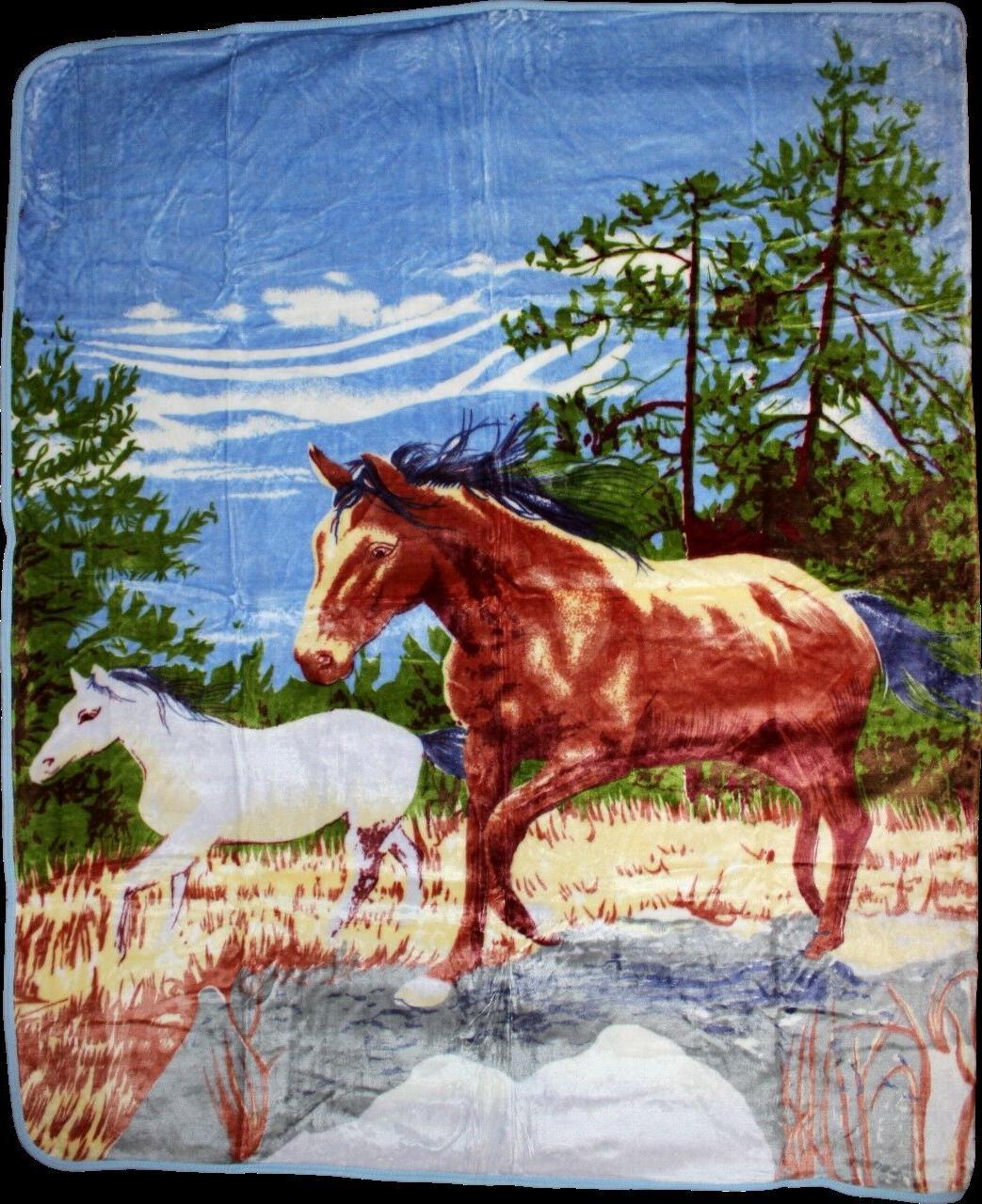 Two Horses Horse Full/Queen Mink Throw Blanket