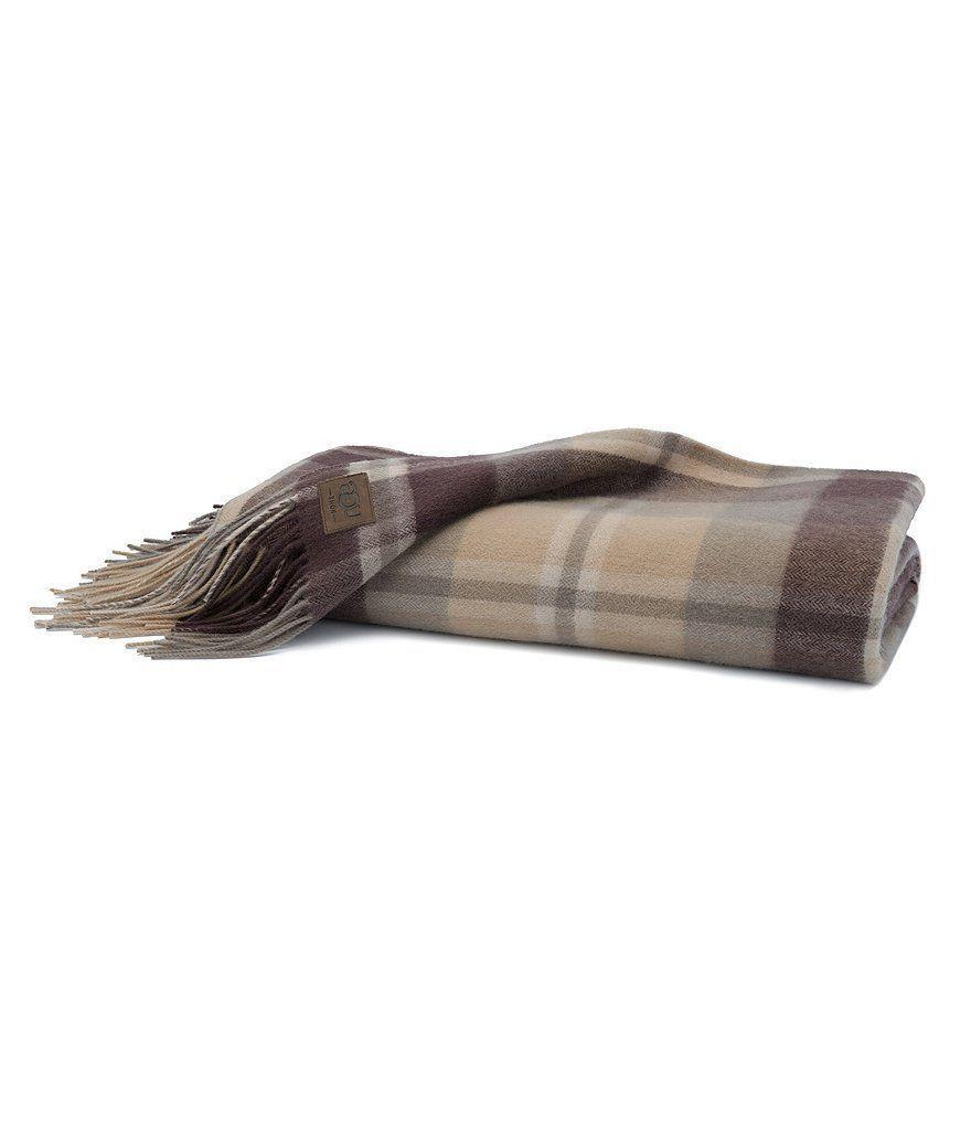 UGG Glacier Fringed Plaid Wool Raisin Brown Throw Blanket re