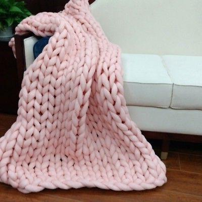 Handmade Large Chunky Knit Blanket Thick Bulky Knitted Throw