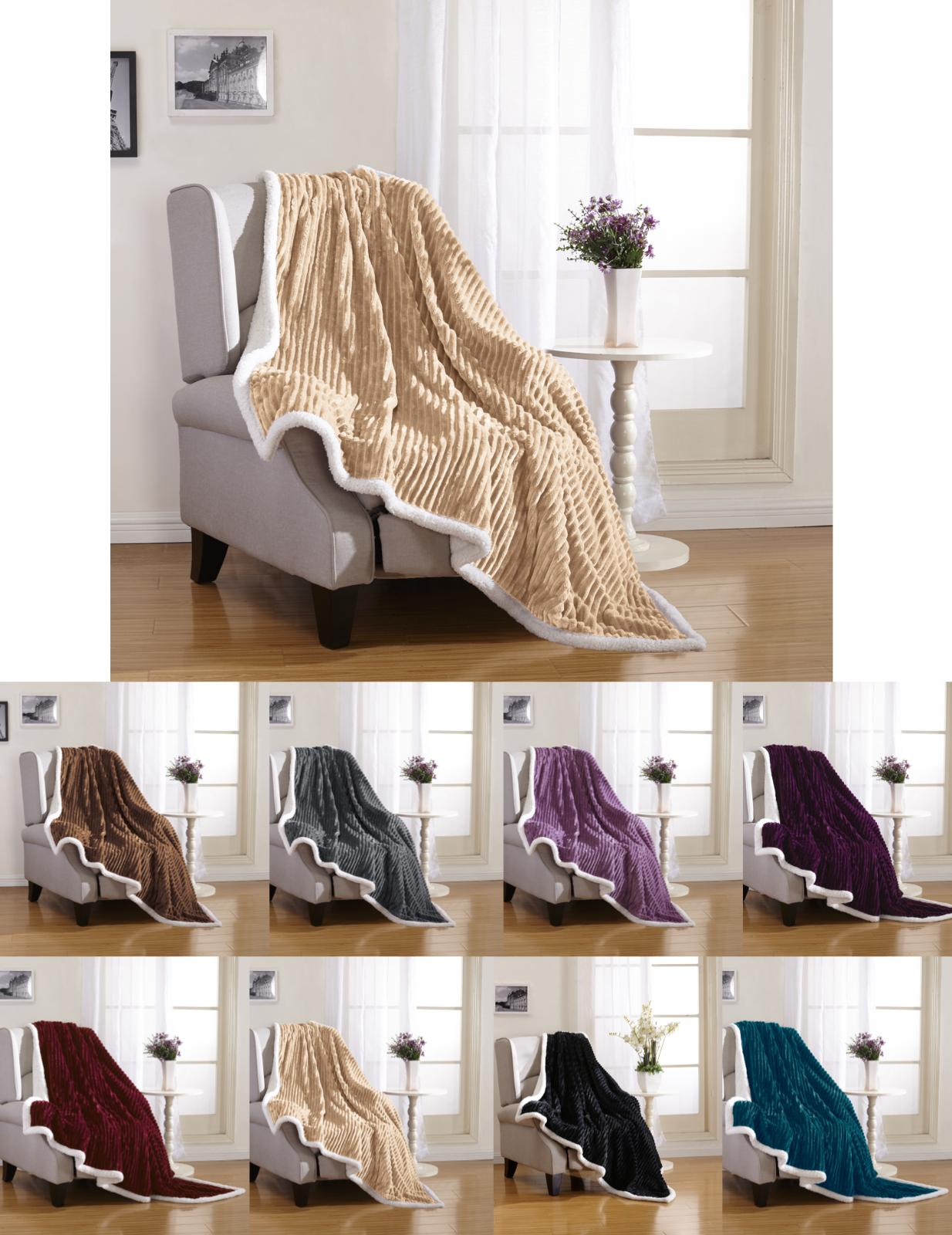 Ultra Reversible Sherpa Throw Assorted Colors