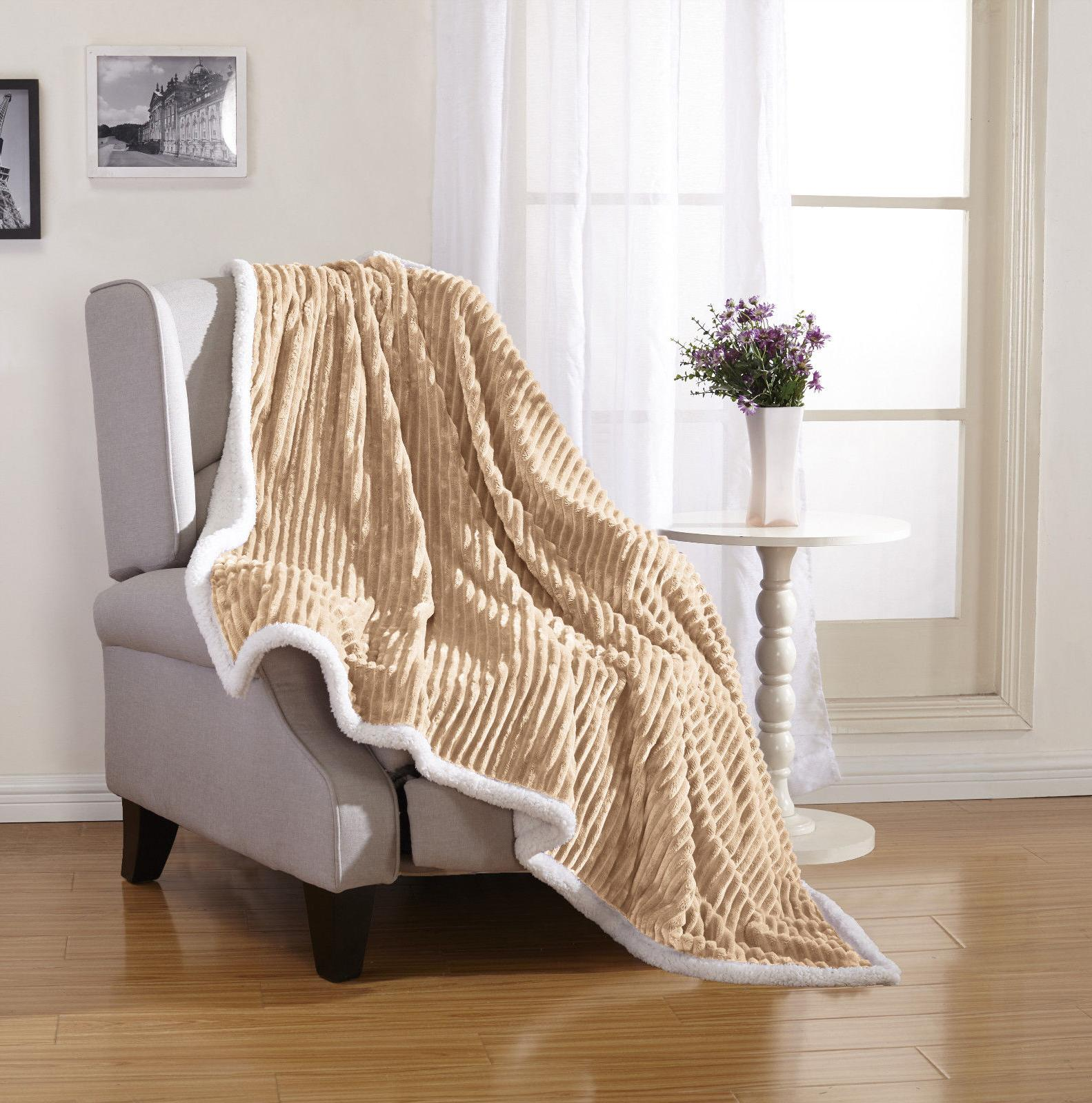 Ultra Ribbed Sherpa Throw Assorted