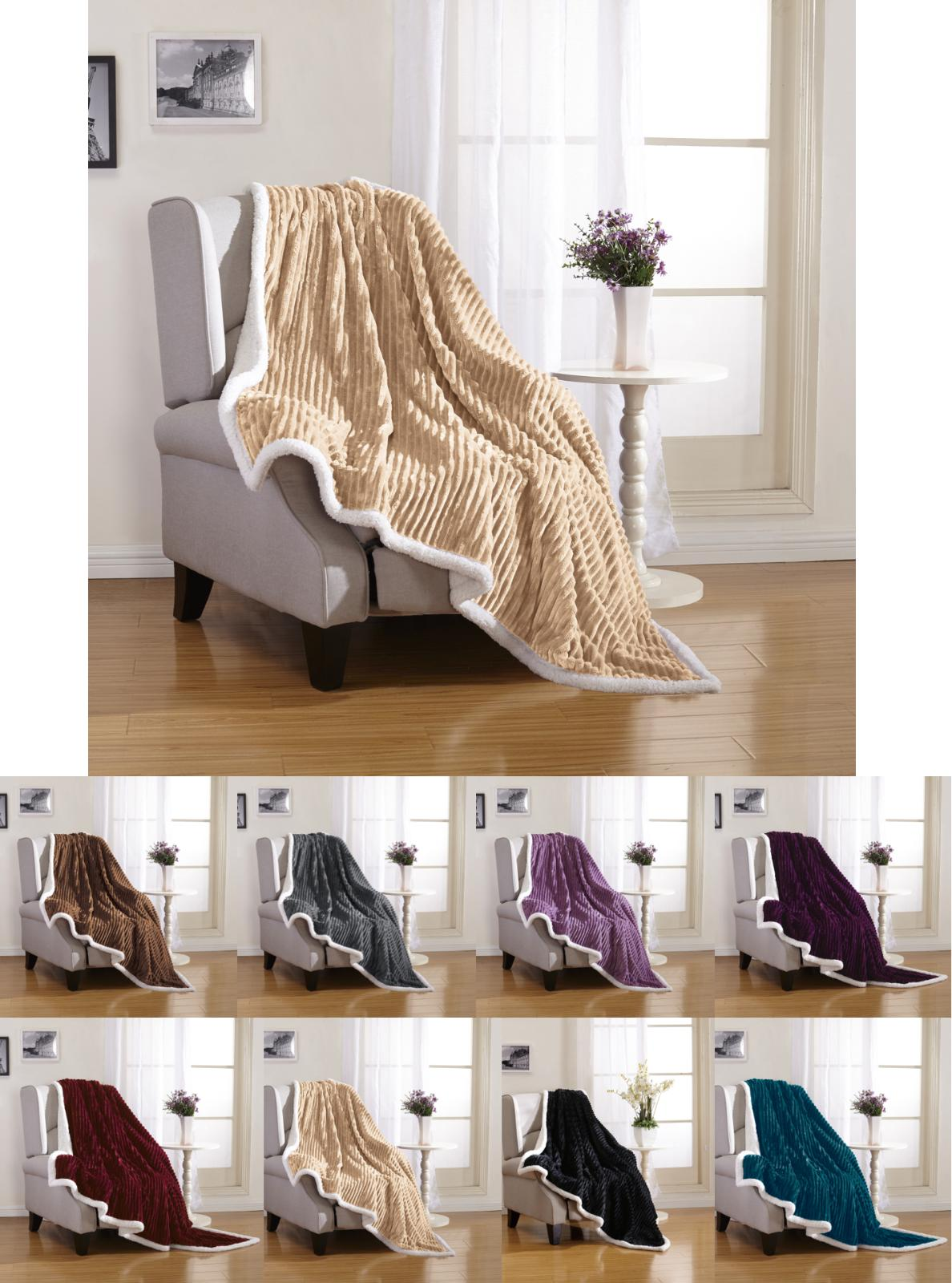 Ultra Plush Reversible Sherpa Throw Assorted Colors