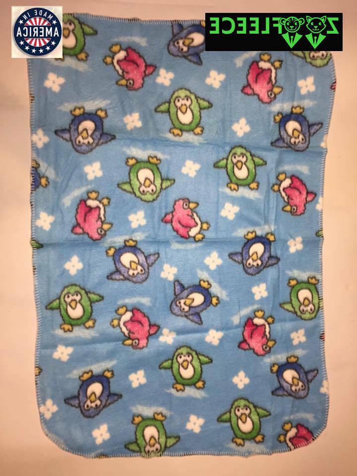 "ZooFleece Blue Penguins 30X40"" Baby Blanket Throw Quilt Unis"