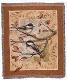Simply Home Autumn Leaves Chickadee Deluxe Woven Tapestry Th