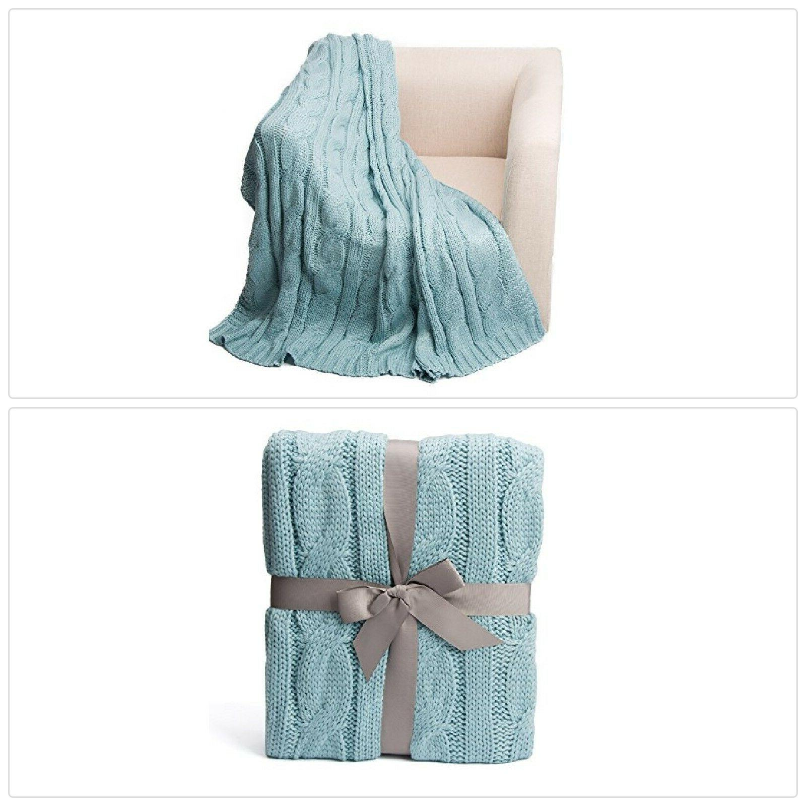 battilo Soft Knitted Dual Cable Throw Blanket, Pale Blue