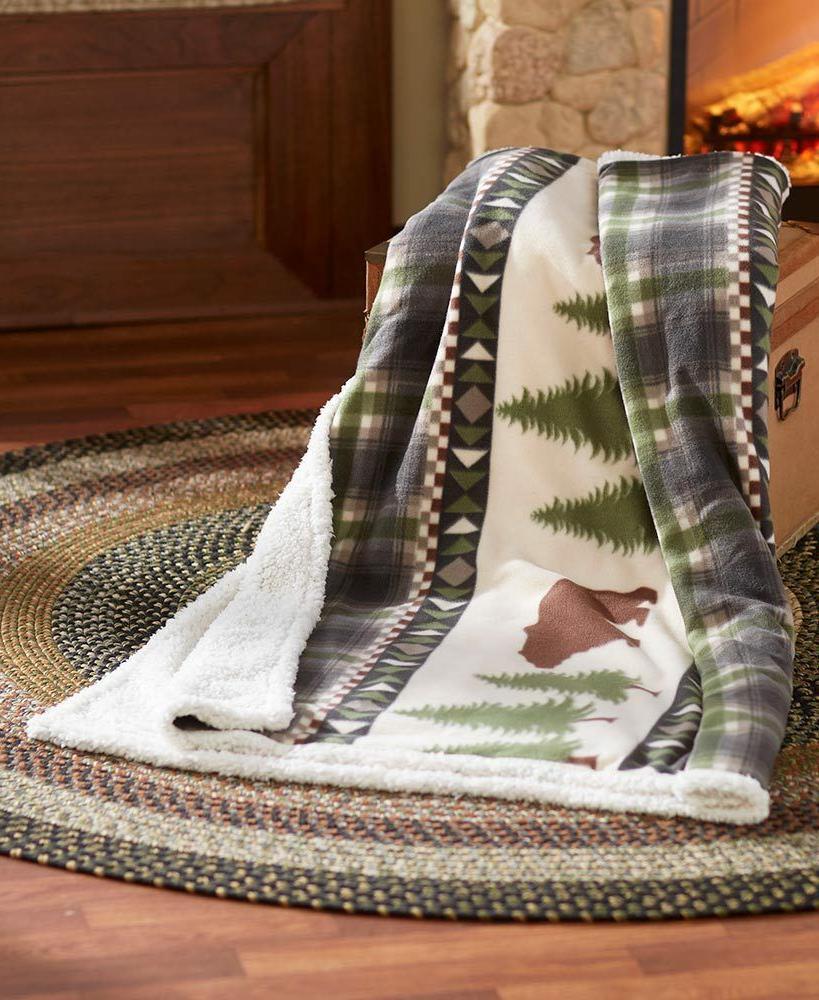 "Bear Tree Jumbo Rustic Lodge Throw Blanket Soft X 70"""