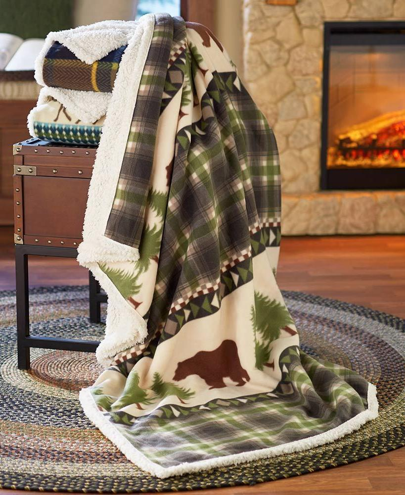 bear pine tree jumbo rustic lodge fleece