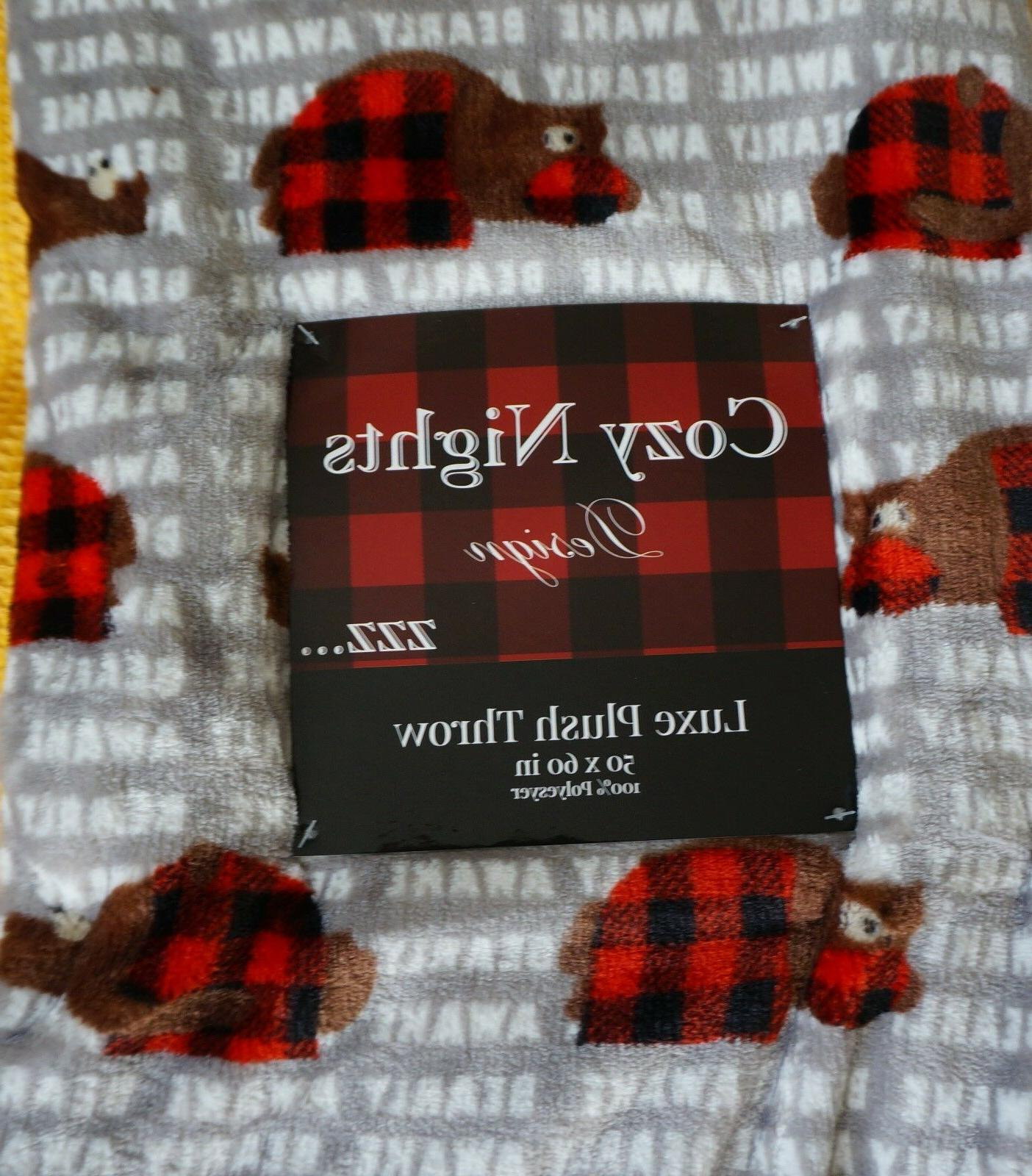 🐻 Brown Bear Red Checked Plaid 50x60