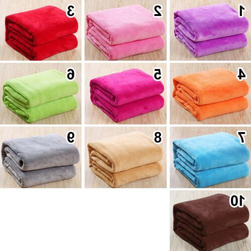 Bedroom Decor Solid Flannel Soft Blanket Throws Pink