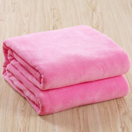 Bedroom Decor Flannel Soft Plush Blanket Throws Rug Pink
