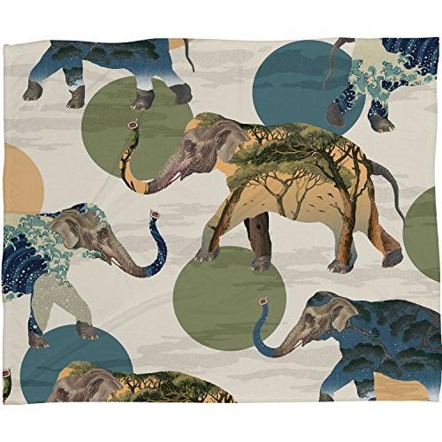 belle13 elephant polka fleece throw