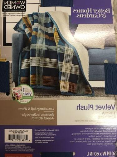 "BETTER & GARDENS SKETCHY PLUSH SHERPA THROW 50"" x"