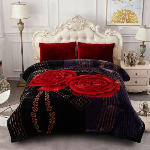 """Black Rose Winter Blanket Floral Ply Reversible Stunning Bed Throw 85""""x93"""""""