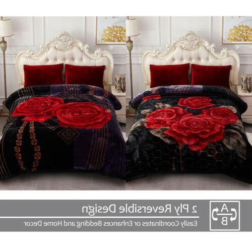 "Black Rose Winter Floral 2 Stunning Throw 85""x93"""
