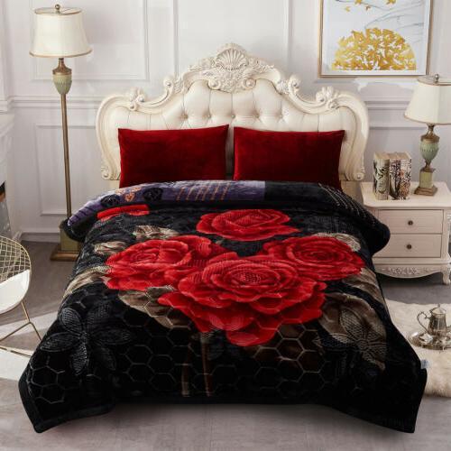 black rose winter blanket floral 2 ply