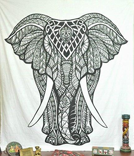 black white elephant tapestry wall