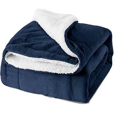 Blankets & Throws Sherpa Fleece Twin Size Navy Blue Plush Fu