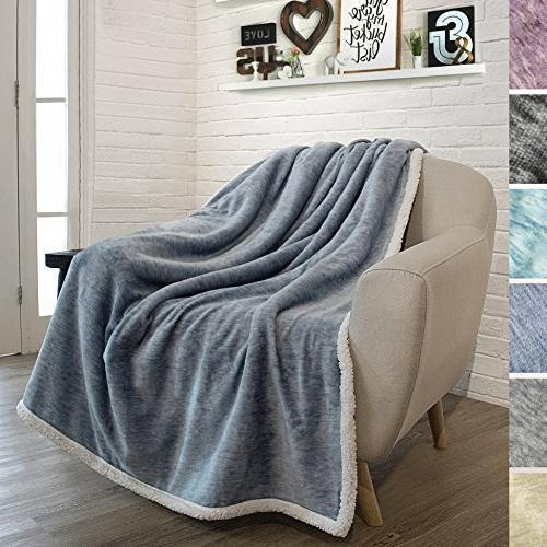 blue sherpa melange throw blanket