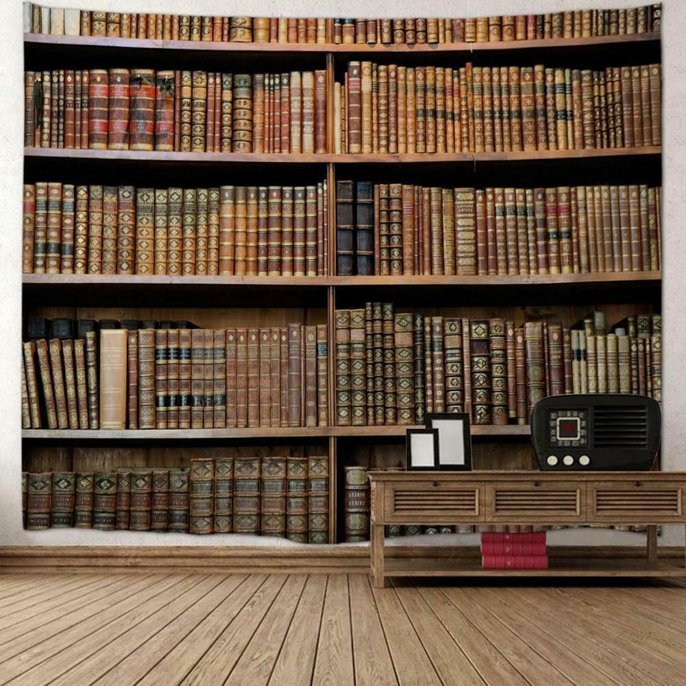 Bookshelf Wall Decor Vintage Bedspread Throw Blanket