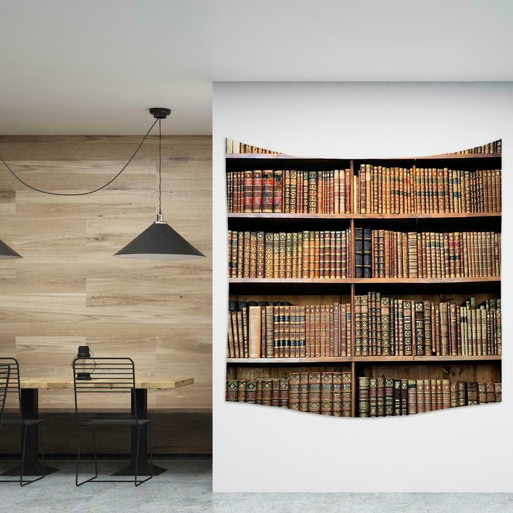 Bookshelf Tapestry Wall Decor Vintage Throw Blanket Mat