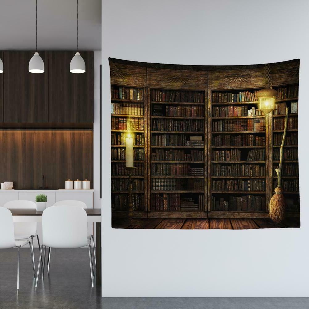 Bookshelf Tapestry Decor Vintage Throw Blanket Mat