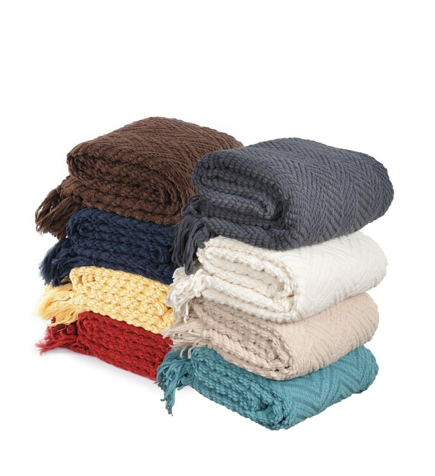 boon knitted tweed throw couch cover blanket
