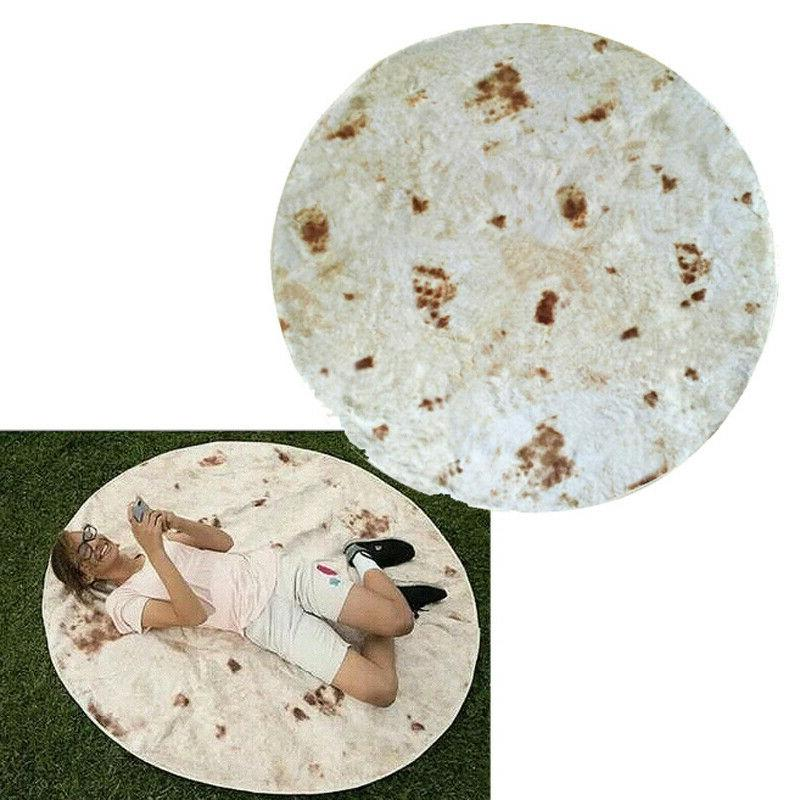 Burrito Soft Flannel Picnic Round Blanket Quilt