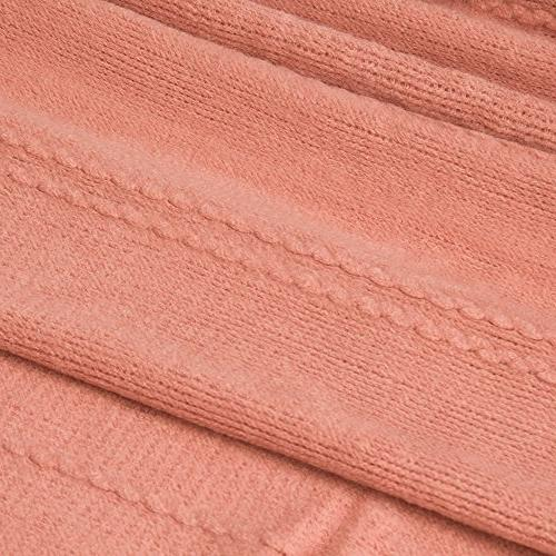 """Battilo Inc Cable Knit Woven Luxury With Tasseled 60"""" Salmon"""