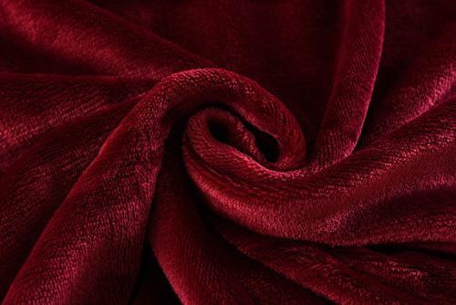 """Caitlin White Blanket Microplush Velvet,50""""x60"""",Burgundy"""