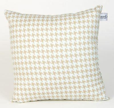 Glenna Jean Central Park Pillow Houndstooth Check, Tan/White
