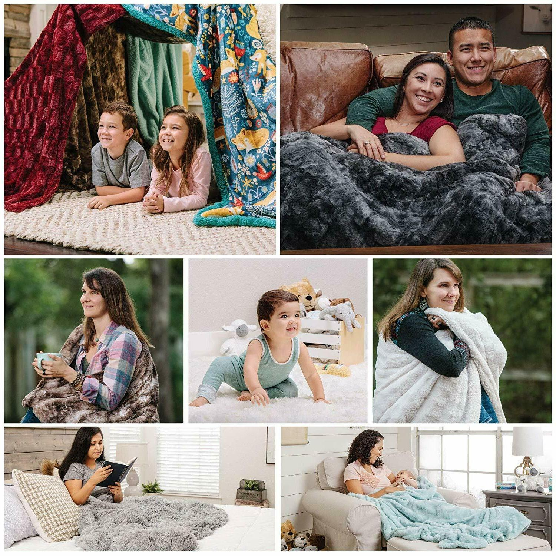 Chanasya Faux Throw Blanket Soft Fluffy Sherpa for Couch Sofa