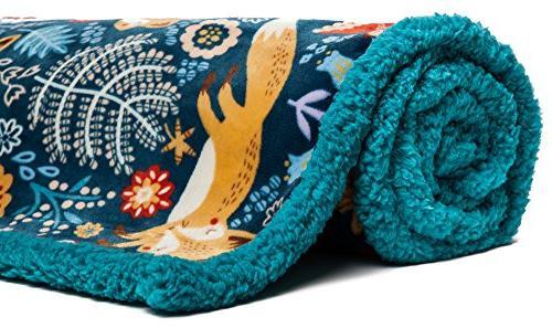 Chanasya Super Soft Plush Gold Blue bright Throw blanket-