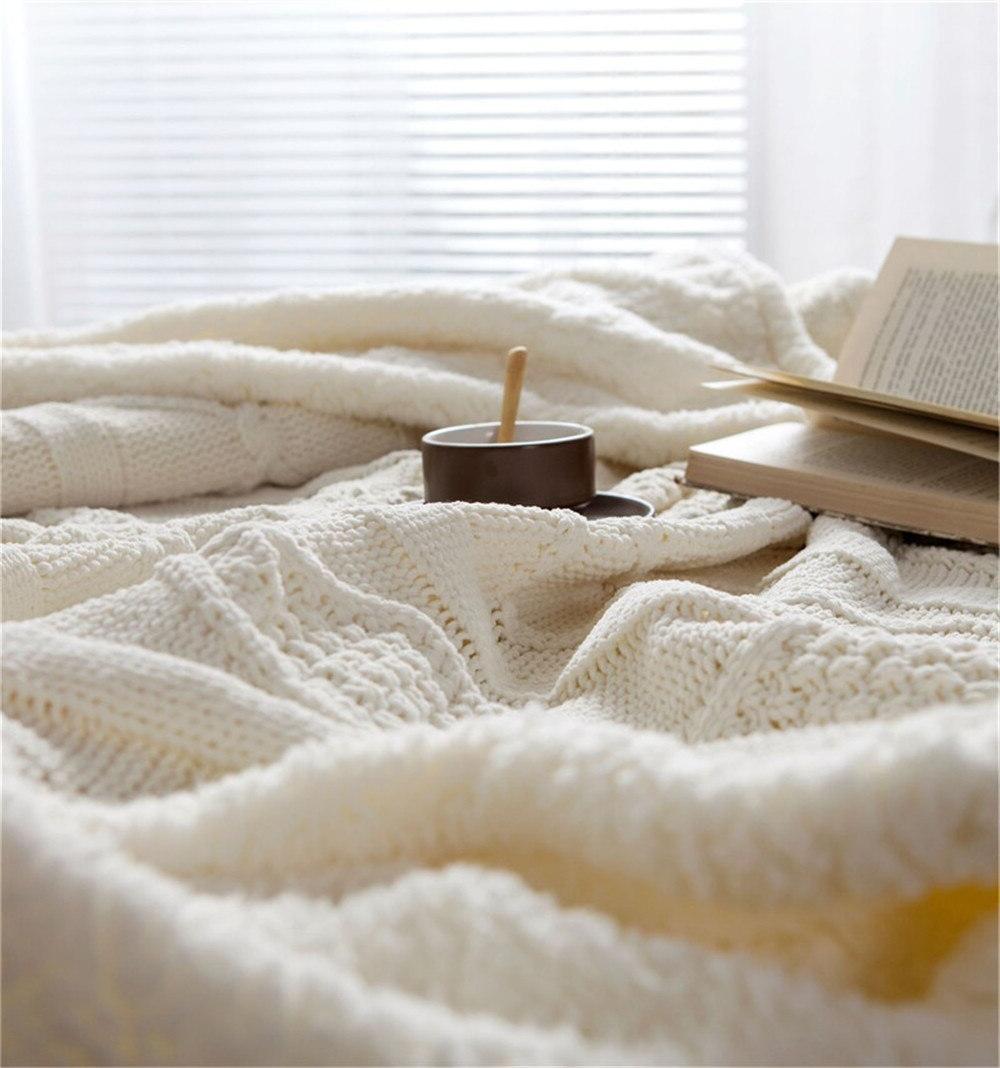 Chenille <font><b>Throw</b></font> Sherpa Plush Fleece for Beds Knitting <font><b>Blankets</b></font> Bedspread