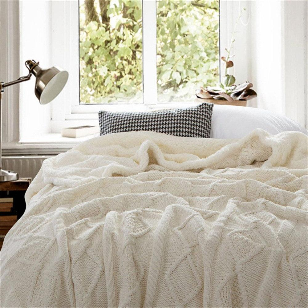 Chenille <font><b>Throw</b></font> <font><b>Blanket</b></font> Double Layer Sherpa Fleece for Beds Bedspread