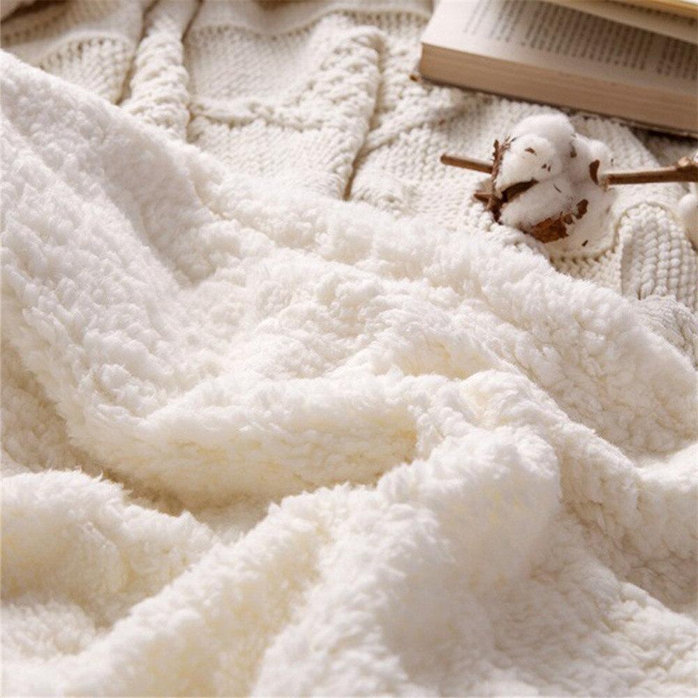 Chenille <font><b>Knitted</b></font> <font><b>Throw</b></font> Sherpa Beds Sofa Knitting Bedspread