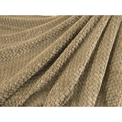 PAVILIA Deluxe Fleece Chevron Blanket Couch, Sofa Super Soft, | Reversible, Textured Taupe Lap for