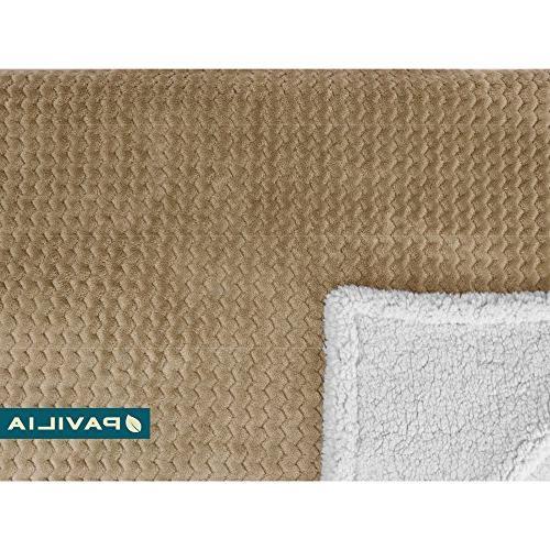 PAVILIA Chevron Throw Blanket for Plush, Throw   Reversible, Wavy Textured Lap for Home