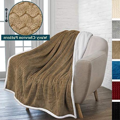 chevron fleece sherpa throw blanket