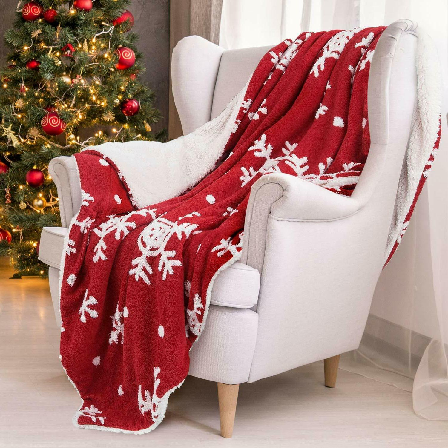 Bedsure Blanket Decoration Snowflake Blanket