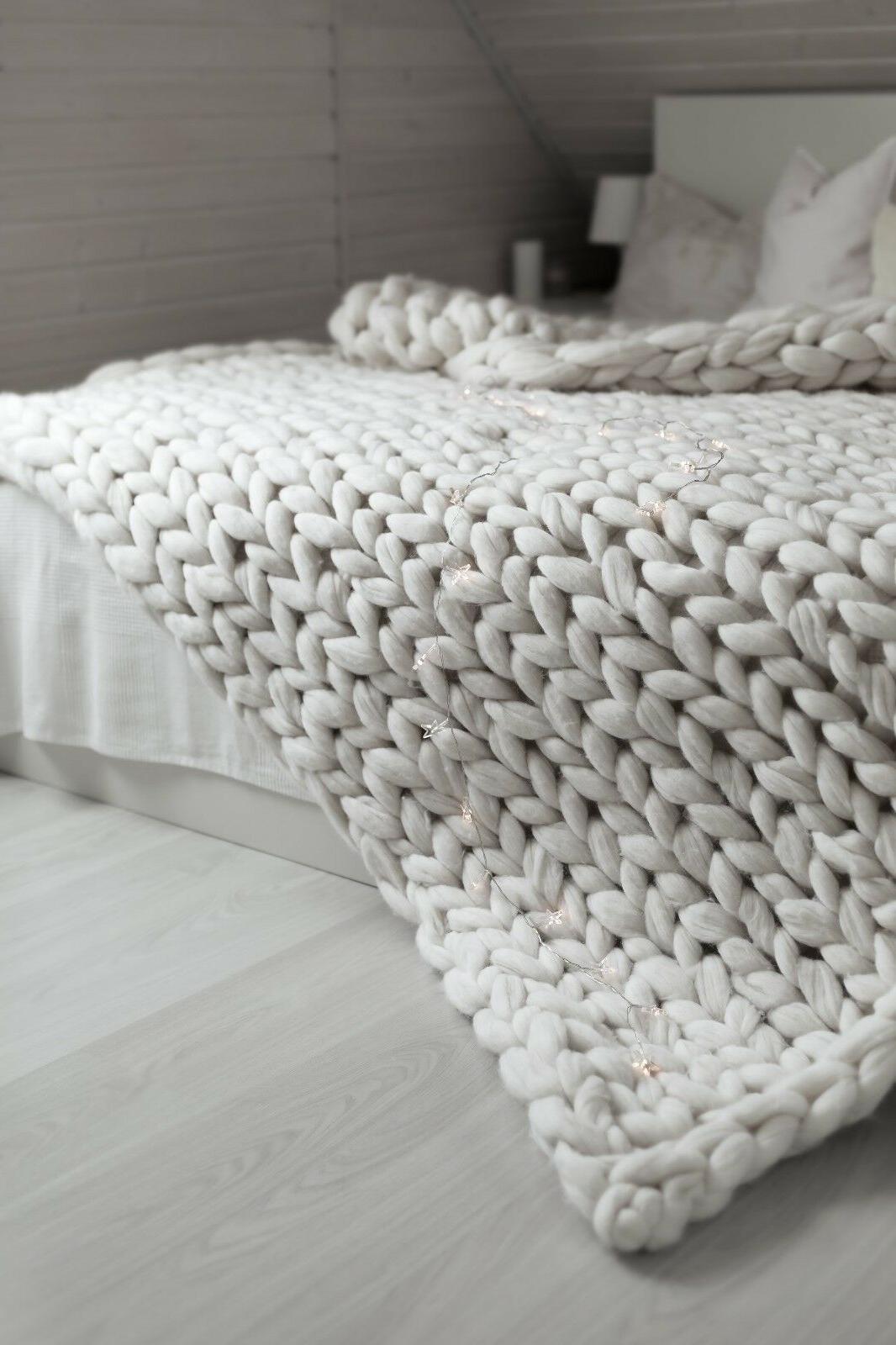 Chunky Knit Blanket Merino Chunky Throw