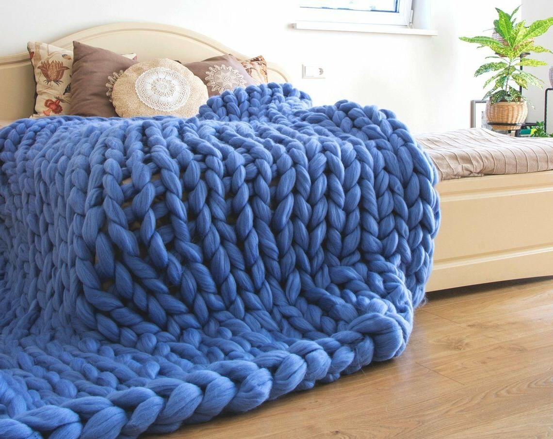 Chunky Knit Merino Throw Knitted