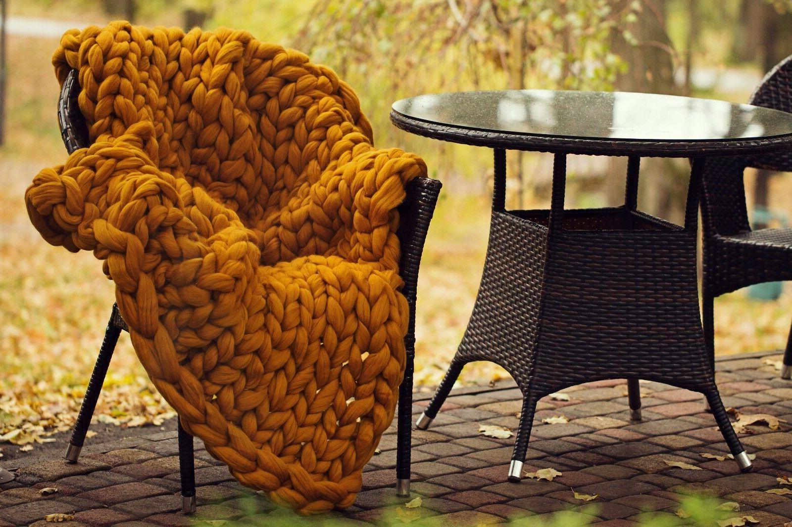 Chunky Knit Blanket 100% Merino Wool Throw Arm Knitted Blanket