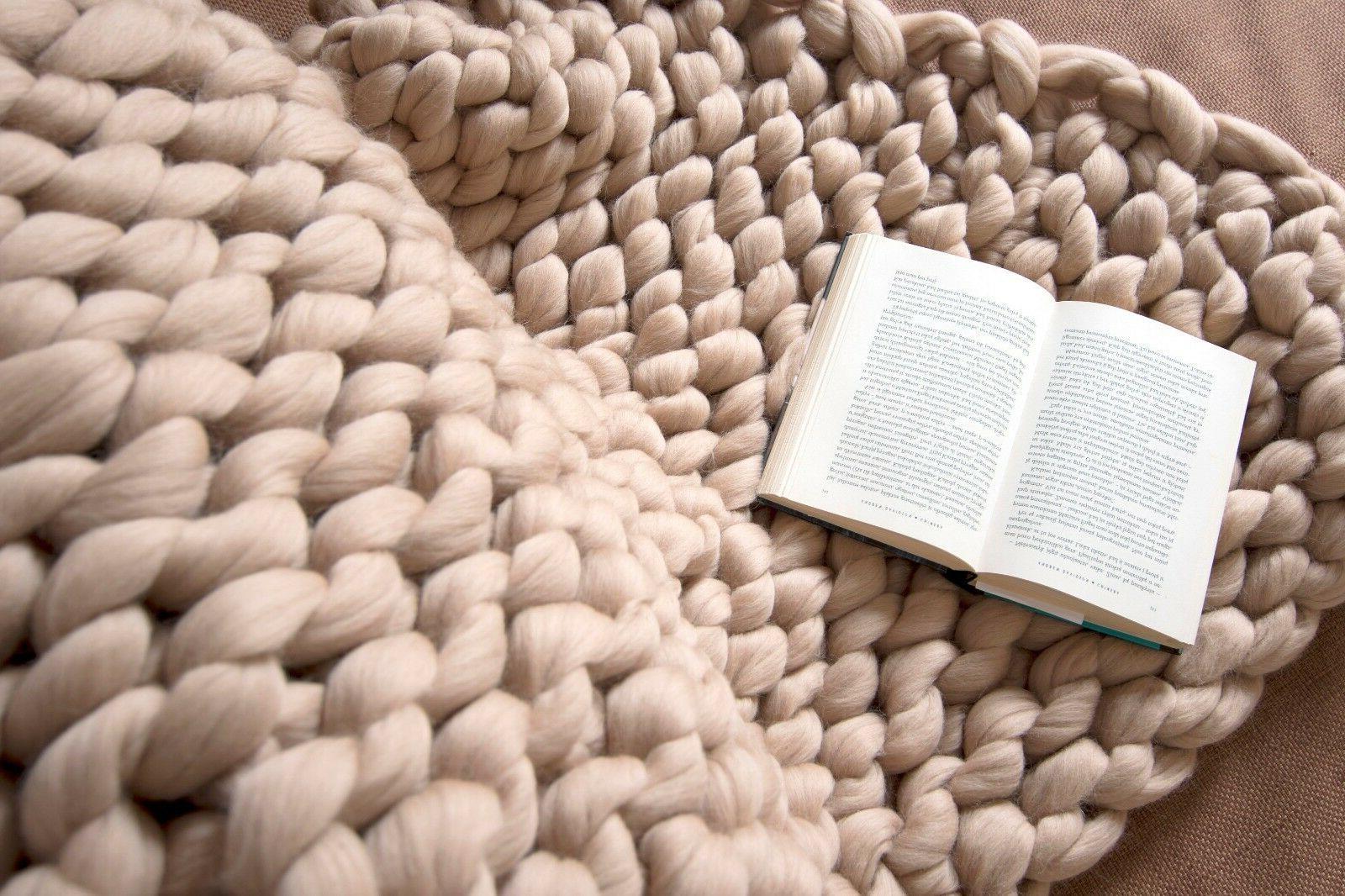 Chunky Blanket Merino Wool Chunky Throw Arm Knitted Blanket
