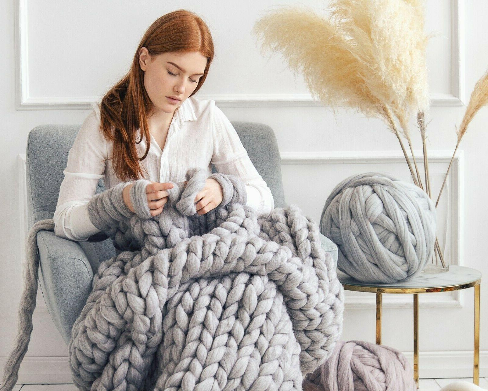 chunky knit blanket 100 percent merino wool